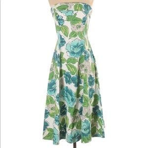 Mario Balthazar Blue/Green Floral Strapless Dress